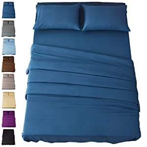Sonoro Kate Bed Sheet Set Super Soft Microfiber 1800 Thread Count Luxury Egyptian Sheets 18-Inch Deep Pocket Wrinkle and Hypoallergenic-4 Piece(Queen, Navy Blue)