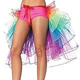 Pixnor Bustle Skirt Womens Layered Dancing Long Tail Skirt Lingerie Bubble Skirt
