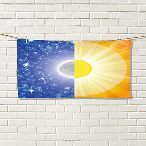 smallbeefly Space Sports Towel Split Design with Stars in The Sky and Sun Beams Solar Balance Nature Image Print Absorbent Towel Blue Yellow Size: W 12
