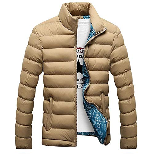 Jackets Side Kaki Stand Outwear Young with Men's Collar Pockets Jacket Outerwear Zipper Fashion Coat Casual Coat Down x8wqnACZ7