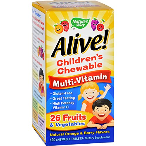 Childrens Multivitamin Chewable Tablets (Natures Way Alive Childrens Natural Orange and Berry Multi-Vitamin Chewable Tablet, 120 per unit -- 1 each.)