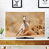 iPrint LCD TV dust Cover,Horses,Arabian Horse Breed Running Out of The Desert Storm Sand High Tail Creature Nature,Cream White,3D Print Design Compatible 65'' TV