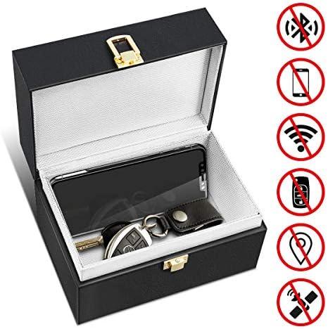 MATCC caja de bloqueo de señal de coche Faraday para llaves de coche, tarjetas bancarias, bloqueo de señal Bluetooth, seguridad antirrobo, piel sintética, caja de almacenamiento grande: Amazon.es: Coche y moto
