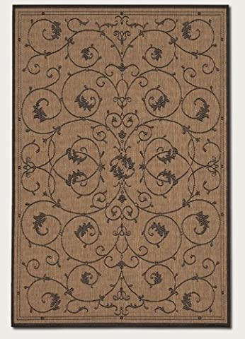 Couristan 1583/2500 Recife Veranda 2-Feet 3-Inch by 11-Feet 9-Inch Rug, Cocoa and Black - All Weather Area Rug