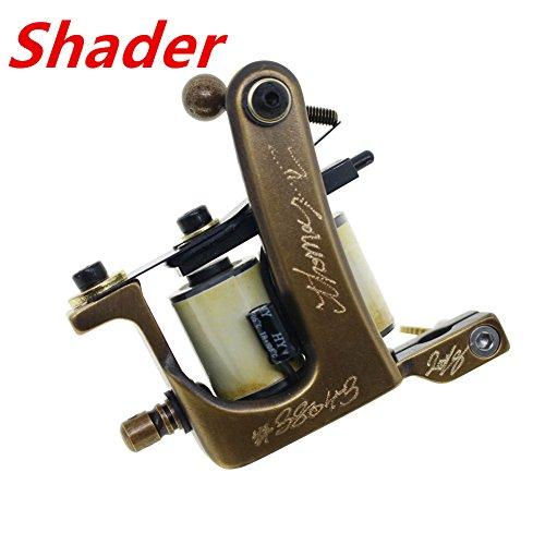 Thomas Coil Shader Tattoo Machine Gun Handmade Brass Frame 10 Wrap Coils (Machine Tattoo Shading)