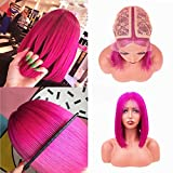 MQYQ 10inch Brazilian Virgin Hair Glueless Short Bob Wig Straight Middle Part Machine Made Human Hair Wigs,Lace Front Straight Human Hair Wigs With Baby Hair(Hot Pink)