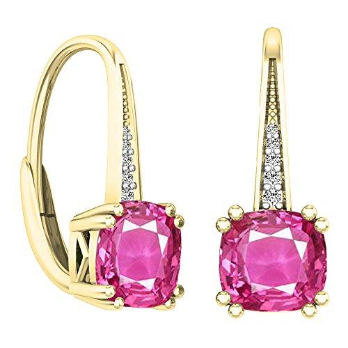 Dazzlingrock Collection 14K Cushion Cut Pink Sapphire & Round Cut White Diamond Ladies Dangling Drop Earrings, Yellow Gold