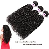 Curly Weave Brazilian Virgin Hair Human Remy Hair Bundles 100% Unprocessed Sexy Kinky Curly Hair Extensions 10A Jerry Curl 3 Bundles Narural Color (24 26 28)