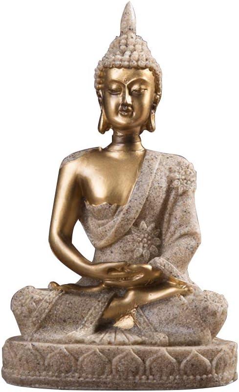 Almabner Meditating Sitting Buddha Statue,Thai Buddha Meditating Peace Harmony Statue,Small Resin Crackle Shrine Sculpture Ornament for Home Decor