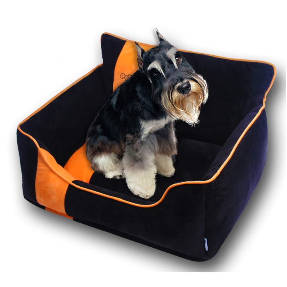 Black MZKK Warm Dog Bed with Reversible Cushion Washable,Available in sizes SMALL, MEDIUM and LARGE