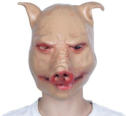 XHCP Halloween Animal Mask Adulto Horror Pelucas De Baile Fiesta Partido Cerdo Cabeza Máscara Completa Cara