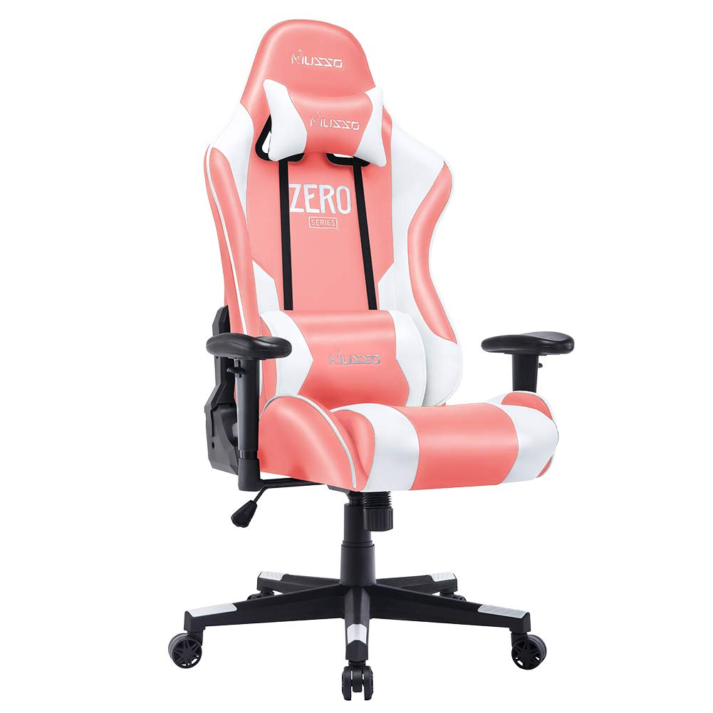 Musso Ergonomic (Pink) Gaming Chair Adjustable Esports Gamer Chair, Adults Racing Video Game Chair, Large Size PU Leather High-Back Executive Office Chair by HugHouse
