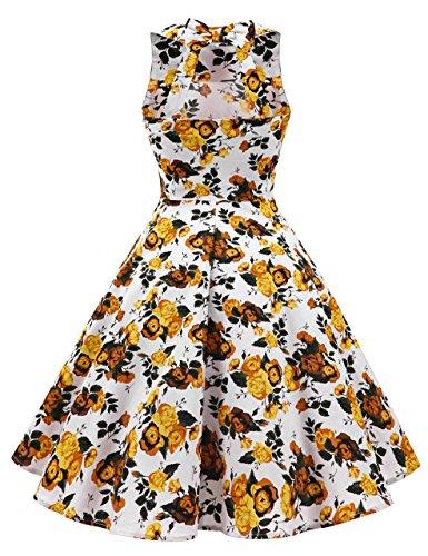 Dot Bowknot Robe De Soirée Swing Cocktail Rétro Yellowflower Années 50 Vintage Polka Femmes Berylove