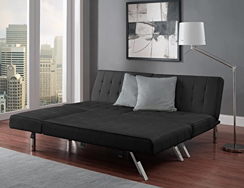 Dhp emily linen chaise lounger stylish design with chrome for Chaise futon lounger