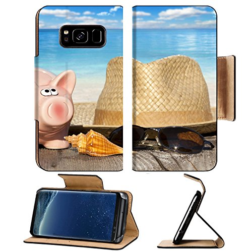 Liili Premium Samsung Galaxy S8 Plus Flip Pu Leather Wallet Case ID: 27988008 Piggy bank with banknotes Seashells Straw Hat and Sunglasses on Wooden Baords at the beach with much C (Straw Seashell)