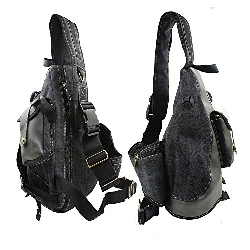 5b845b4d972f Amazon.com  Lanica One Strap Sling Cross Body Shoulder Backpack Travel  Rucksack (Black)  Sports   Outdoors