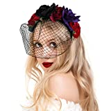 Valdler Vintage Dark and Dramatic Dead Roses Flower Crown Headband for Party Black+Red