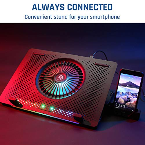 KLIM Orb + Laptop Cooling Stand with RGB backlighting + 11 - 15,6 + Gaming Laptop Cooling Pad For Desk + USB Powered Fan with metal grid + Stable And Silent + Compatible Mac And PS4 + NEW 2020