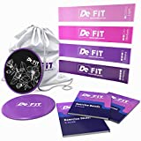 DeFiT Resistance Bands & Exercise Sliders – Best Exercise Bands & Sliders Fitness Set – 12inch Resistance Loops – Workout Bands & Core Sliders + Carry Bag, Exercise eBooks & Nutrition Guide as Bonuses