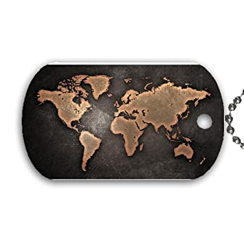 Amazon world map dog tag with 30 chain necklace great gift world map dog tag with 30quot chain necklace great gift idea gumiabroncs Image collections