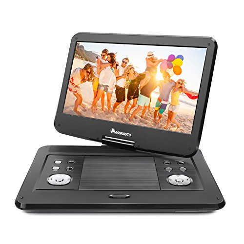 NAVISKAUTO 14″ HD Portable DVD Player with High Resolution Large Swivel Screen, 5-Hour Rechargeable Battery, SD Card Slot and USB Port