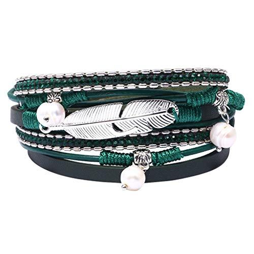 - Peigen Multi Layer Leather Bracelet Braided Wrap Cuff Bangle Alloy Magnetic Clasp Handmade
