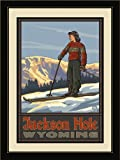 Northwest Art Mall PAL-0388 LFGDM GSSS Jackson Hole Wyoming Girl Skier Standing Sunset Framed Wall Art by Artist Paul A. Lanquist, 20 by 26-Inch