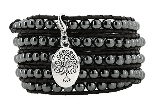 [Long Leather Black Simulated Hematite Stone Bead Wrap Around Bracelet with a Removable Charm, 40 Inches (Silver Tone Oval Tree of Life)] (Hematite Oval Bracelet)