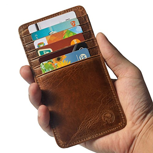 Vintage Genuine Leather Wallet Slim Pocket Credit Card Holder Sleeve Card case 12 Card Slots (Brown)