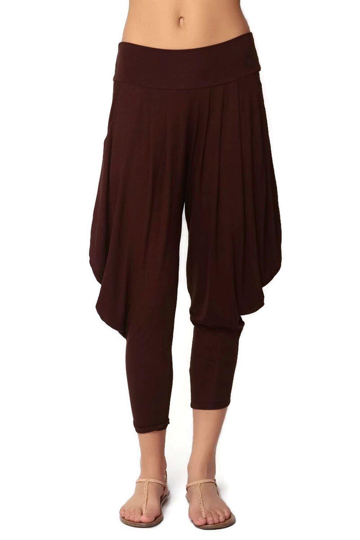 Simplicitie Women's Soft Yoga Sports Dance Harem Pants - Brown, Medium - Made in USA