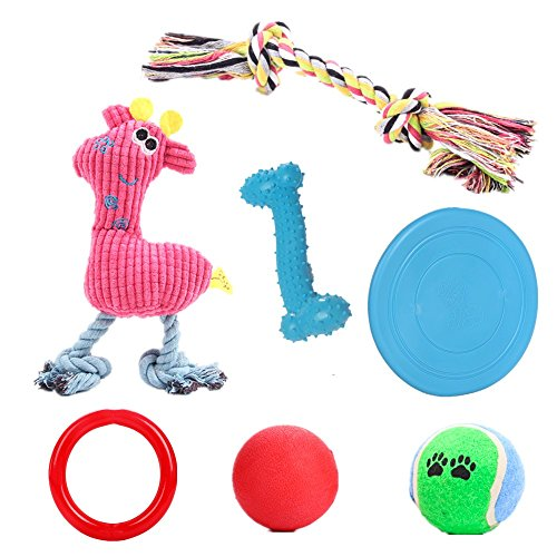 YOOPET Dog Chew Toys Set for Small to Medium Dogs & Puppy Toys – Rope Toy, Squeaky Toy, Rubber Ball, Bone, Flying Disc – Assorted Colors, 7PCS