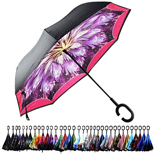 - Aplus Trend Newest Windproof Double Layer C-Handle Inverted Umbrella with Fabric Cover Reverse Umbrella for UV Protection & Rain | Outdoor Car Umbrella for Women & Men (Flora W/Pink Border)