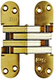 SOSS Mortise Mount Invisible Hinges with 4 Holes, Zinc, Satin Brass Finish, 2-3/8'' Leaf Height, 1/2'' Leaf Width, 23/32'' Leaf Thickness, #7 x 1-1/4'' Screw Size (10 Pairs)