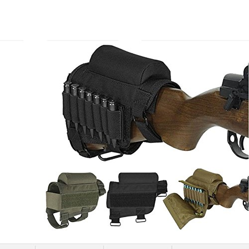 Rifle Buttstock, Hunting Shooting Tactical Cheek Rest Pad Ammo Pouch with 7 Shells Holder (Black)