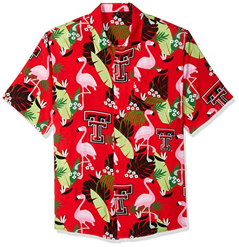 NCAA Texas Tech Red Raiders Foco Floral Button Up Shirt, Team Color, - Tech T-shirt Red