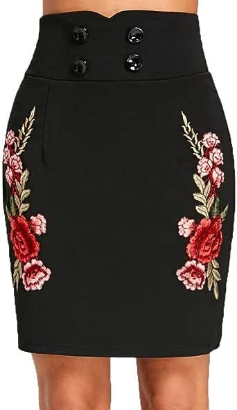 LHWY-Falda Falda Recta con Bordados Mujer Cintura Alta con Botones ...