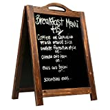 MyGift Large Rustic Style A-Frame Chalkboard Sign, 2-Sided Sidewalk Sandwich Board, Dark Brown