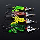 WALLER PAA Lot 4pcs Rubber Frog Soft Fishing Lures Bass Bait Spinner Sinking 9cm 3-9/16inch