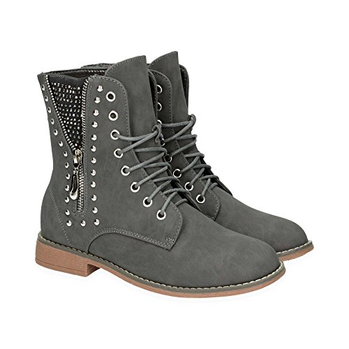 Damen Schnür Stiefel mit Blockabsatz | Biker Boots im bequemen und modischen Design | Nieten Stiefeletten Schuhe | Gr. 36 bis 41 | Japanolo | Grau EU 38