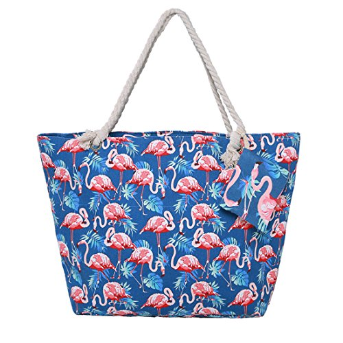 Ladies Flamingo Tote Bag with Zipper Waterproof Beach Bag with Matching Wallet 13 Color2