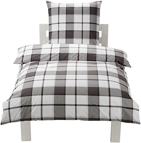AmazonBasics Gemustertes Bettwäscheset, 100%Baumwolle, groß kariert, 135x200 cm, 1 Kissenbezug (80x80cm)