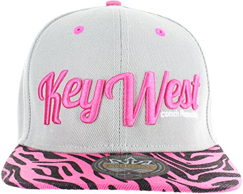 KEY WEST ANIMAL PRINT ZEBRA SNAPBACK BASEBALL CAP - GRAY AND PINK (Zebra Cap Pink)