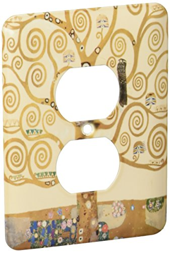 (3dRose lsp_155632_6 The Tree of Life 1909 By Gustav Klimt Stylish Swirling Branches Brown Fine Art Deco Swirls 2 Plug Outlet Cover)
