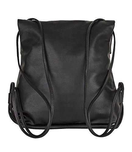 """SIX """"Basic"""" mittel großer Damen Rucksack Beutel in schwarz mit silbernem Reptilien Muster im Metallic Look, schmale Riemen, flap over (463-656)"""