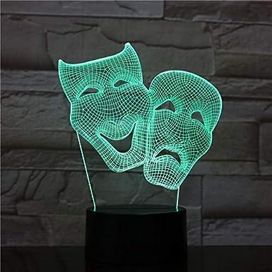 ping 3D led forma de máscara led Luz de noche Cambio de color Lámpara de mesa decoración del hogar atmósfera Regalo genial