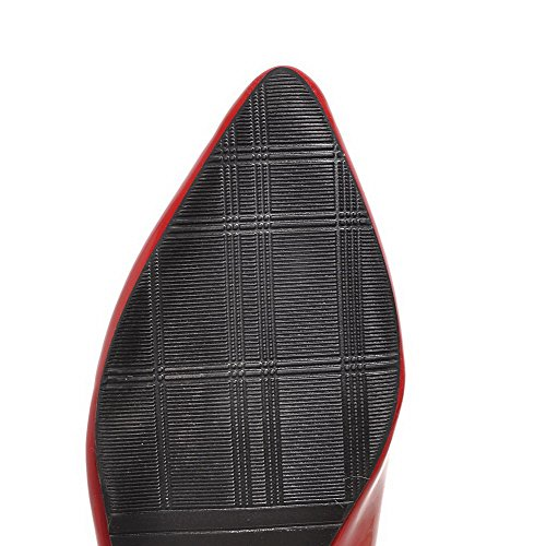 Amoonyfashion Mujeres Low Heels Sólido Pull En Las Bombas De Punta Estrecha Cerrada-Zapatos Red
