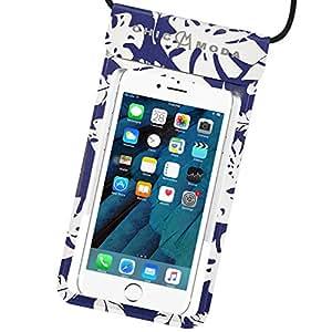 CHICMODA Cuero Funda Impermeable Móvil Universal 7 Pulgadas, Polvo de Suciedad, Funda Movil Agua IPX8 para iPhone X MAX 8 Plus, Samsung Huawei p20,Xiaomi y Android - Azul Marino Hojas