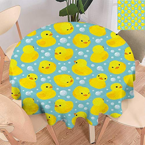 Nursery Round Tablecloths, Cute Happy Rubber Duck and Bubbles Cartoon Pattern Childhood Kids Theme Art Fabric Tabletop Cover for Dining Room, 36