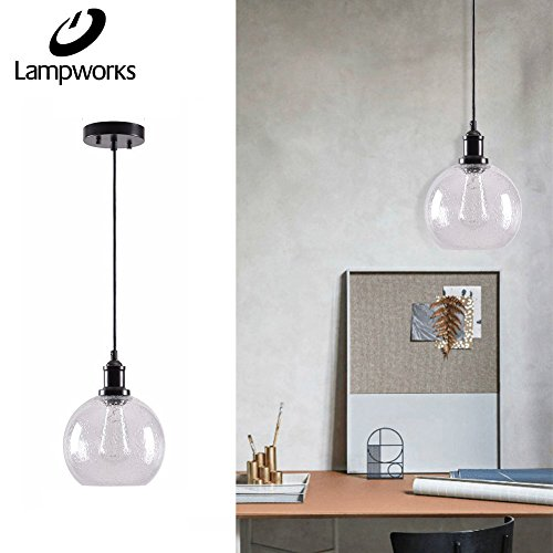 Living Room Ceiling Lighting - Lampworks Pendant Light Dia 7-7/8 Industrial Clear Bubble Glass Globe Lampshade Ceiling Light Fixture Spherical Chandelier Lighting for Kitchen Living Room(Bulb Not Included)