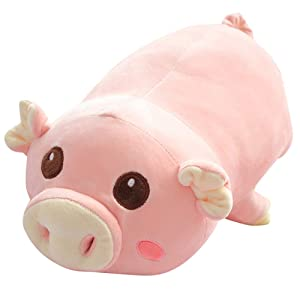 """sofipal Pig Plush Hugging Pillow,Super Soft Sleeping Piggy Stuffed Animal Toy Doll Gifts for Kids Birthday,Valentines,Christmas (Round Eyes, 25.5"""")"""